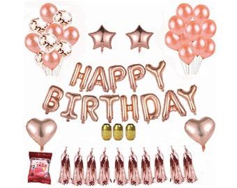 Rose Gold Birthday Decoration Happy Banner Tassel Garland Confetti Balloons Tissue Paper Pom Poms Pink Decor Supplies Women Girls