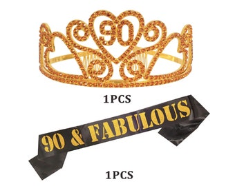 Gold 90th Birthday Tiara Crown Party Decorations Satin Sash 90 Cake Topper Never Looked So Good