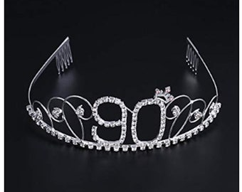 90th Birthday Party Decorations Supplies Crystal Tiara Crown Princess Hair Accessories Silver Rhinestone 90