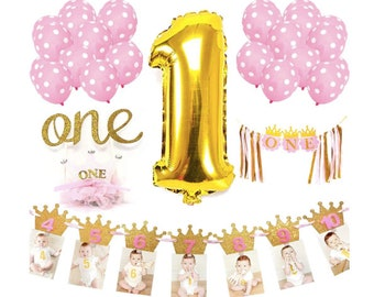 Girl 1st Birthday Party First Decorations Photo Banner One Crown Highchair Princess