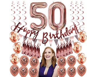 50th Birthday Party Decorations For Women 50 Balloons Rose Gold Favors