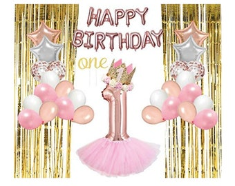 1st Birthday Decorations GirlBirthday Crown 1 Year Old Tutu Rose Gold Theme One Cake Topper Latex Balloons Foil Confetti
