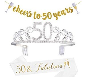 50th Birthday Decorations Party Supplies Gifts For Women 50 Sash Banner Crown Cake Topper