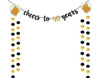 Cheers And Beers Banner 40th Birthday Party Beer Bachelorette Gold Glittery Supplies Theme