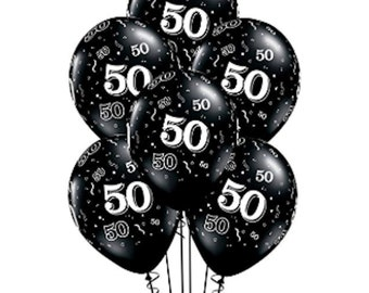 50th Birthday Balloons 50 Party Decorations Anniversary Black Supplies Men Women Favors