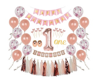 First Birthday Girl Decorations Party Supplies Day One Cake Topper 1st Balloons Baby Decor Set