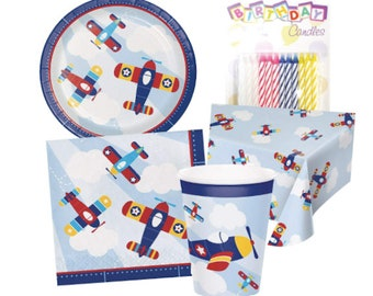 Lil Flyer Airplane Party Flying Theme Birthday Supplies Planes Paper Plates Little Pilot Plane