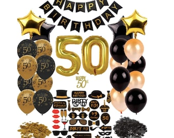 50th Party Decorations Birthday Gold Black Supplies Men Women Favors Balloons