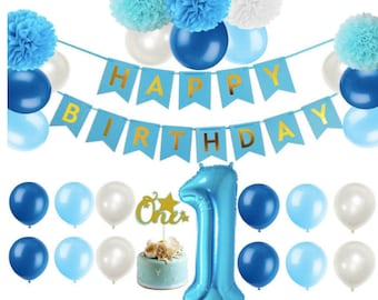 First 1st Birthday Boy Decorations Blue Party Supplies Little Man Number One Balloon Decoration