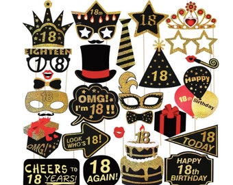 18th Photo Booth Props 8th Birthday Party Supplies Black And Gold