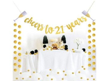 Gold Cheers To 21 Years Banner Party Decoration 21st Birthday Supplies Decorations Happy