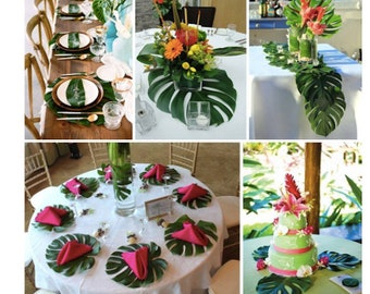 b2ebc2853e 48 Tropical Leaves Table Decorations Jungle theme Party Decor Hawaiian Luau  Beach Theme Table Decorations Summer Luau Party Flowers Wedding