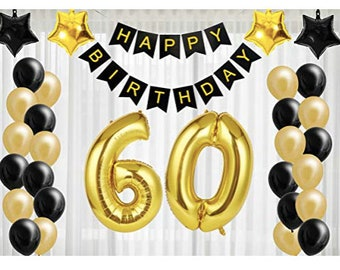 60th Party Decorations Gold Birthday Black 60 Year Old Supplies Rose Wedding