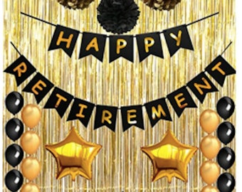 Happy Retirement Party Decorations Black And Gold The Legend Etsy