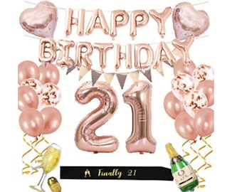 21st Birthday Party Supplies Rose Gold Decorations Foil Balloons Happy Confetti