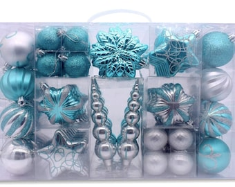 turquoise christmas ornaments blue ball ornaments silver ornaments turquoise ornaments seasonal decorative holiday xmas tree decorations