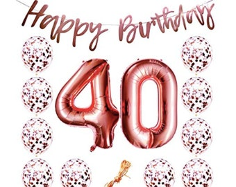 40th Birthday Party Decorations Rose Gold Supplies Banner Balloons Woman