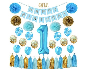 First 1st Birthday Boy Decorations Blue Party Supplies Little Man Number One Balloon
