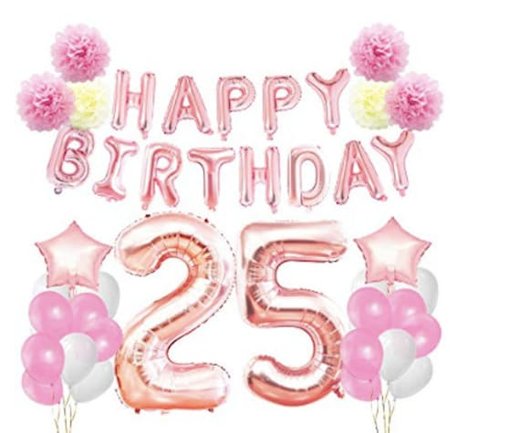 25th Birthday Decorations Party Supplies Rose Gold