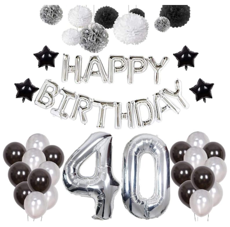 Silver 40th Birthday Decorations Black Party