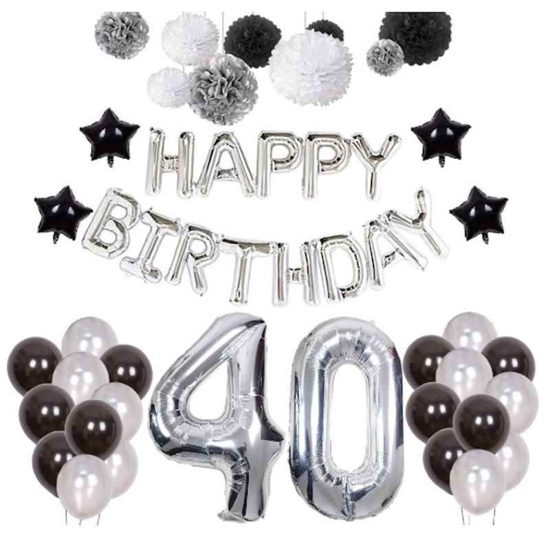 Silver 40th Birthday Decorations Black 40th Party Decorations Etsy