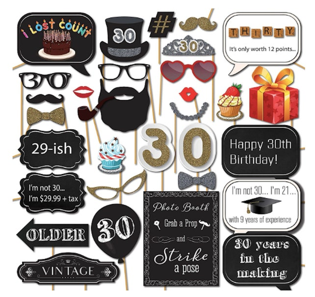30th Birthday Photo Booth Props 30th Birthday Party Supplies DIRTY