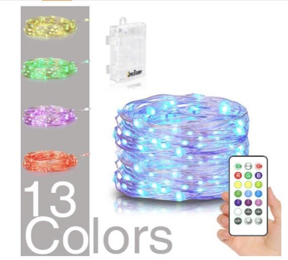 Led String Lights Battery Powered Multi Color Changing String Lights 50 Leds Indoor Decorative Silver Wire Lights Bedroom Outdoor 16ft