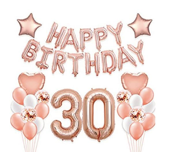 30th Birthday Decorations Rose Gold Balloons Party Supplies Happy Confetti