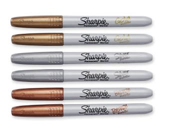 6 Sharpie Metallic Fine Point Markers Gold Silver Bronze Sharpies permanent ink Craft Project Marker Silver Gold Bronze Markers