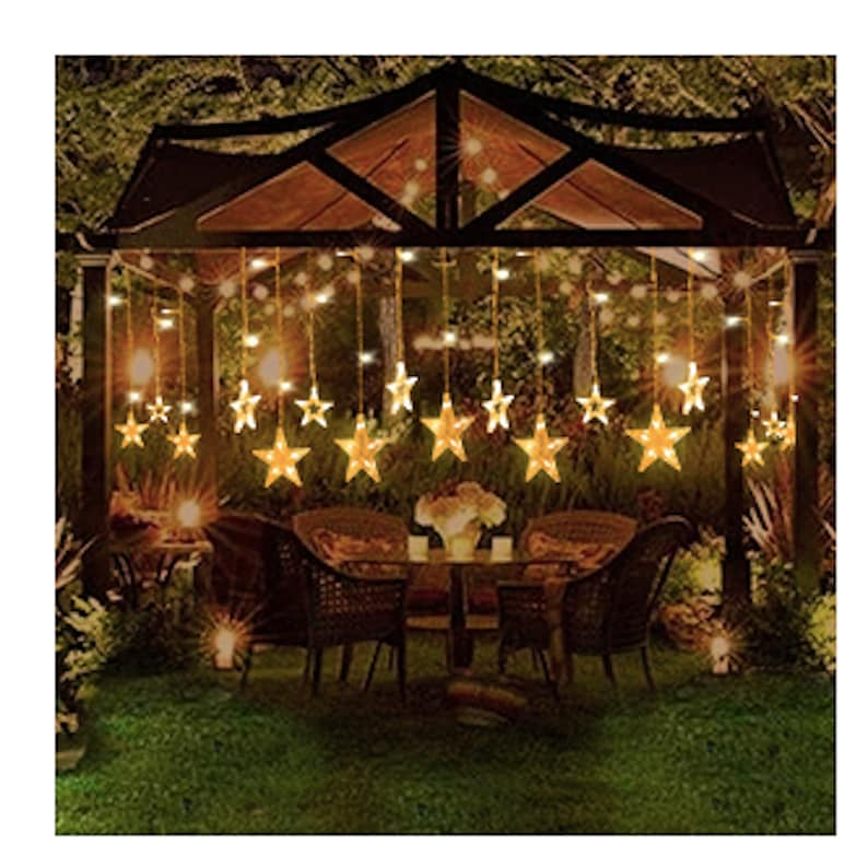 Star Curtain Lights Fireplace Mantle Decoration Xmas image 0