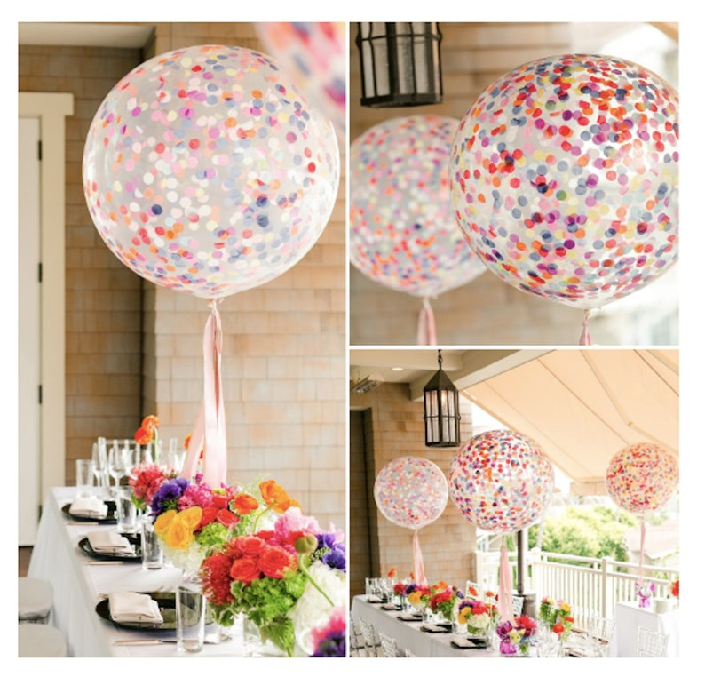 Confetti Balloons 36'' Birthday Party Balloons Rainbow image 0