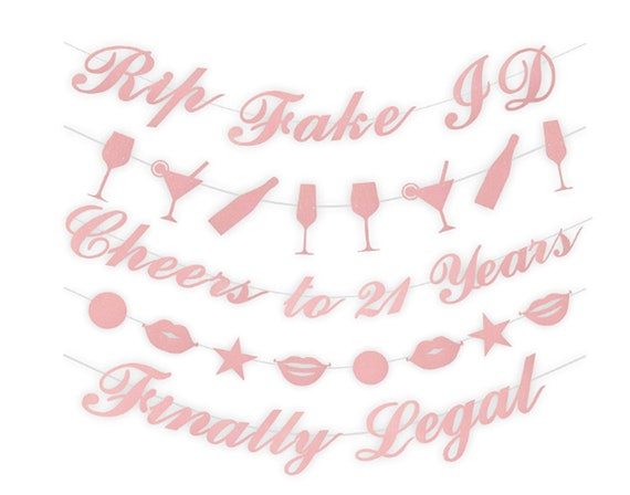 Rose Gold 21st Birthday Decorations Party Supplies 21st Birthday Decorations 21 Party Decorations 21st Birthday Banner Party Supplies