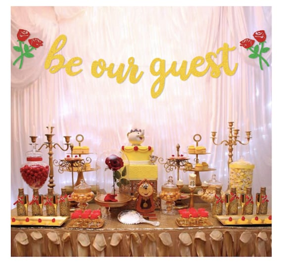 Sensational Be Our Guest Banner Reception Banner Bachelorette Party Engagement Party Decorations Beauty And The Beast Party Decorations Princess Party Download Free Architecture Designs Scobabritishbridgeorg