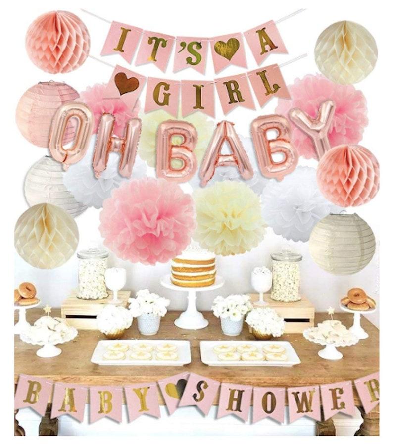 Rose Gold Girl Baby Shower Decorations Gender Reveal Etsy