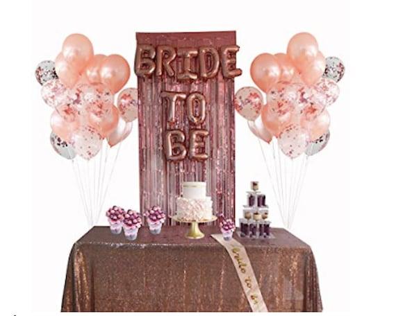 Rose Gold Bridal Shower Bachelorette Party Decorations Bride Etsy