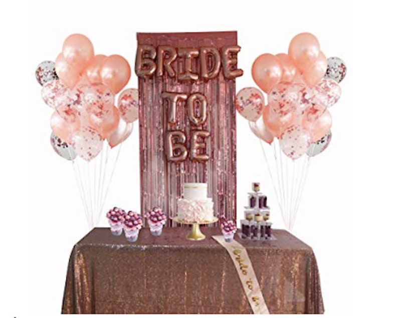 Rose Gold Bridal Shower Bachelorette Party Decorations Bride Rose Gold Balloon Bride To Be Sash Bridal Shower Balloon Heart Balloons