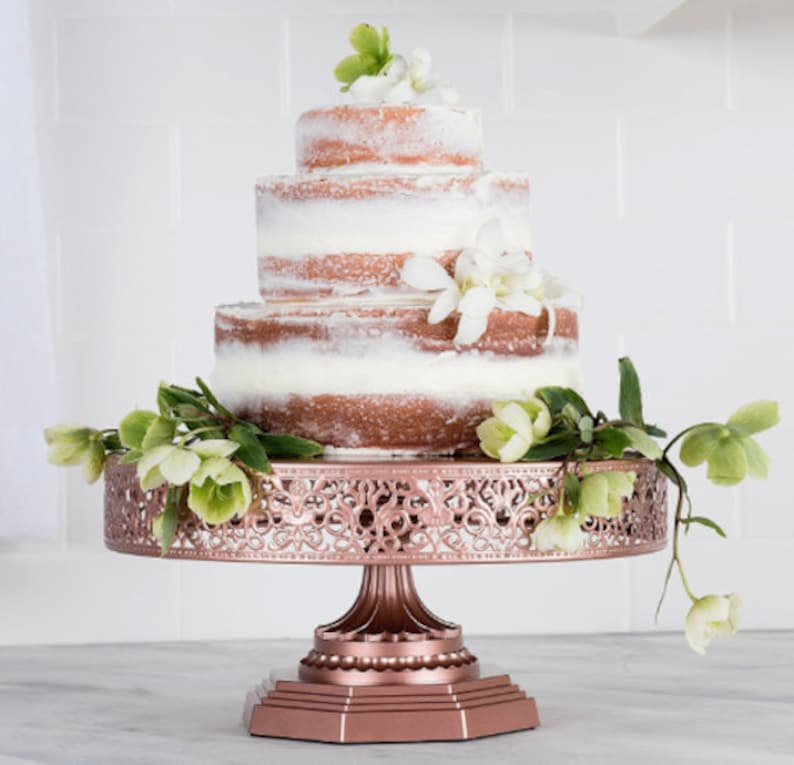 f155b6ffd605 Rose Gold Wedding Cake Stand Cake stand Cupcake Stand Baby   Etsy