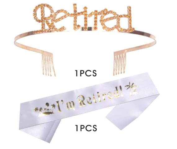 Officially Retired Retirement Party Silver Tiara Plastic Headpiece Gift Gag