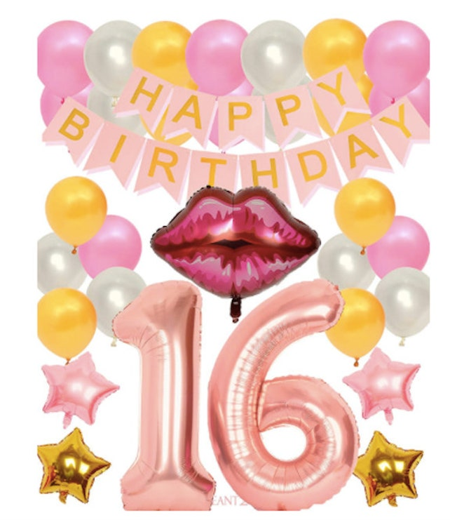 16th Birthday Decorations Party Rose Gold Balloons Supplies Happy Confetti