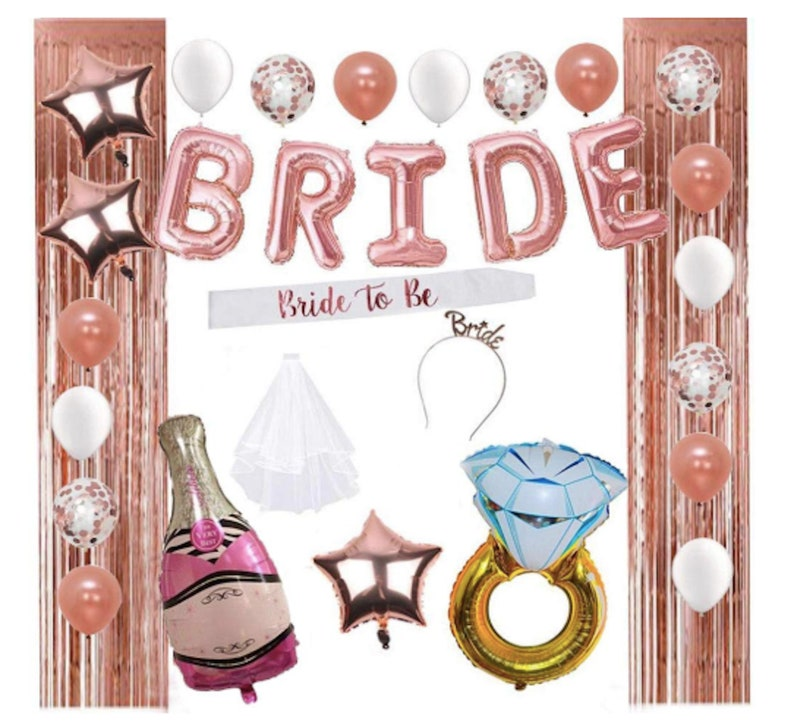 Rose Gold Bride to be Sash and Veil Bachelorette Party Supplies Bridal Accessories for Bachelorette Party Bridal Shower Hen Party Night Out Decoration