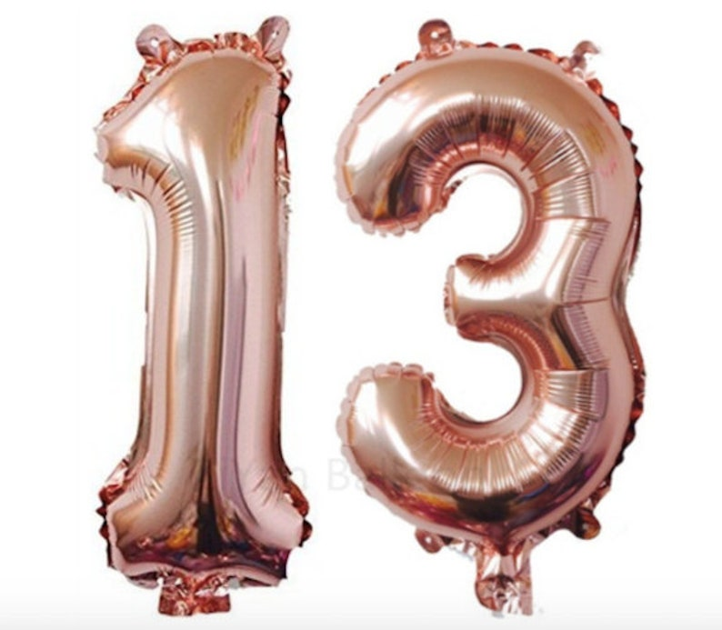 Rose Gold Number 13 Balloon 13th Birthday Party