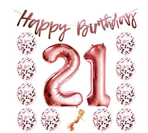 21st Birthday Balloons 21 Number Party Supplies Rose