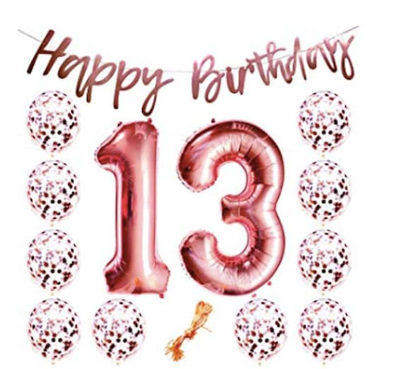 Rose Gold 13th Birthday Party 13 Number Balloons Girl Teen
