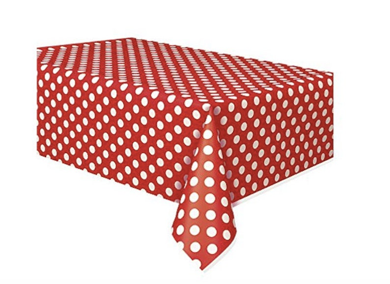 Red And White Polka Dot Plastic Tablecloth Mickey Minnie Mouse Etsy