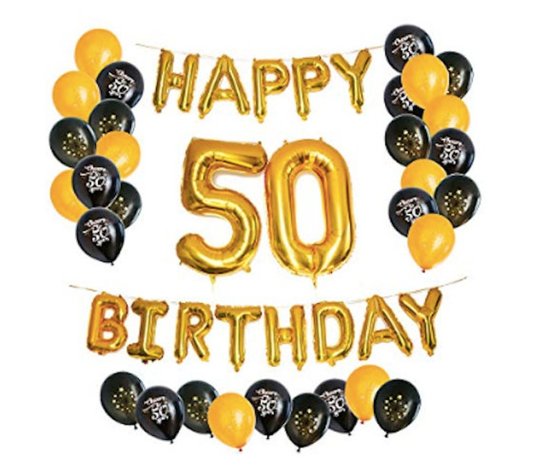 50th Birthday Party Decorations Kit Balloons Happy Foil B