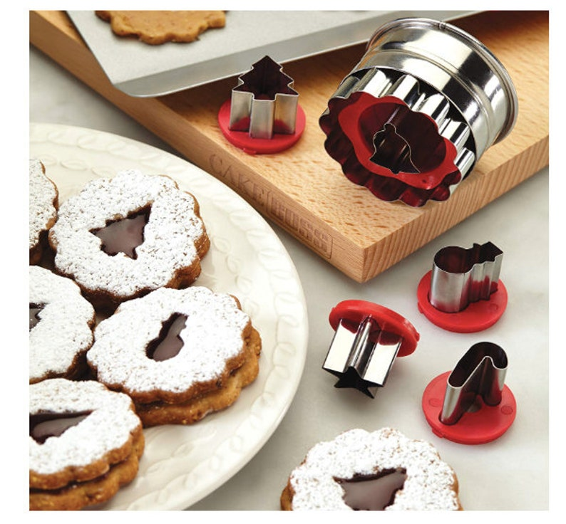 Christmas Cookie Cutters Holiday Linzer Cookie Cutter Set Cookie Cutters Christmas Baking Cake Decorations Snowman Bell Star Candy Cane