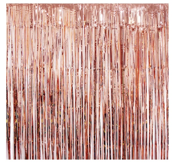 Pack of 3 Rose Gold Foil Fringe 3 x 8 Feet Curtains for Christmas New Year Eve