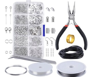 Jewelry Making Kit Jewelry Findings Set Jewelry Findings Starter Kit Jewelry Beading Making Kit Pliers Silver Beads Wire Starter Tool