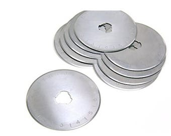 10 pack 45MM Rotary Cutter Refill Blades fits Olfa Fiskars Cutters Olfa, Clover, Fiskar, Dafa rotary cutters. Great for sewing, quilting