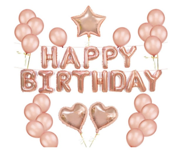 Rose Gold Decorations Party Happy Birthday Foil Balloons Supplies